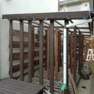 ガレージ横薪小屋の屋根高さ延長