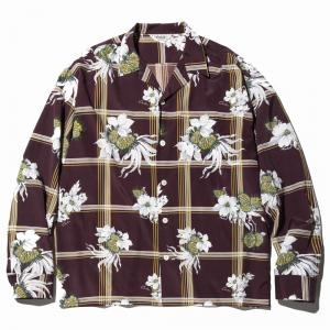 CALEE Flower check mix pattern L/S shirt