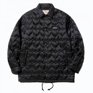 CALEE Heart quilting nylon coach jacket