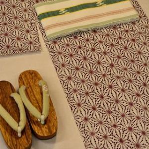 麻の葉柄の浴衣地を琉球絣半幅帯でコーディネート・そして「ゆかた祭り」にチャレンジ