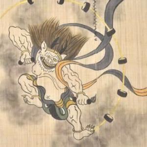 ワイドサイズ麻のれん「風神雷神」と「柳のカワセミ」の柄