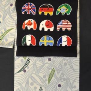 世界の国旗柄の帯で京紅型も小紋をコーディネート・そして6日間の涙市を振り返って