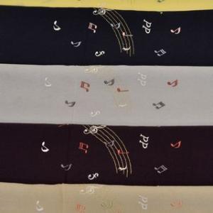 刺繍で入れた音符柄のちりめん帯揚げ・和装の楽器柄展は8月21日より