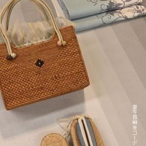 夏牛首紬を夏の牛首紬しゃれ袋帯でコーディネート・「牛首紬展」が23日(金)より始まります