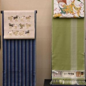 牛首紬展が23日(金)から始まります・全ての牛首紬に帯がコーディネートされた会です