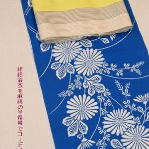 オリンピック開催に疑問を持つコロナ感染状況・竺仙さんの綿絽浴衣と麻絹半幅帯の組み合わせ