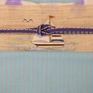 水色地の丹後木綿をヨット柄の染帯でコーディネート・そして県外から注文が入った丹後木綿