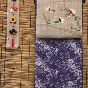 坂口さんが染められた「綿絽の加賀染め夏衣」のきもの・そして孫の誠と遊んだつかの間の時間