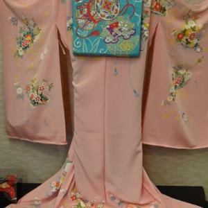 加賀友禅の四つ身訪問着に合わせたジュニア用の水色袋帯・そして10月に開く神無月の会のお話