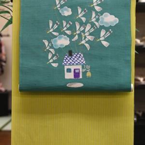 黄色い丹後木綿とグリーンの型絵染の帯・神無月の会で丹後木綿に再びスポットを当ててみたい