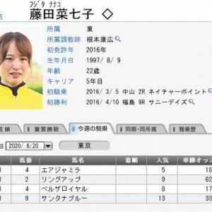 藤田菜七子騎手、土曜日の騎乗予定  2020.06.20