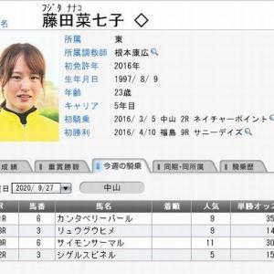 藤田菜七子騎手、日曜日(中山競馬)の騎乗予定 2020.09.27