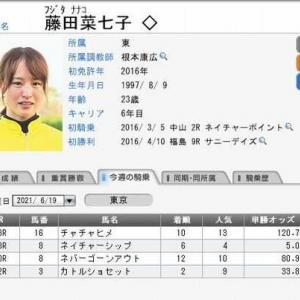 藤田菜七子騎手、土曜日(東京競馬)の騎乗成績 2021.06.19