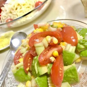 アボカドとコーンの梅酢サラダ&素麺❤️
