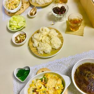 アボカドと夏野菜のソイグラタン&つけ素麺❤️