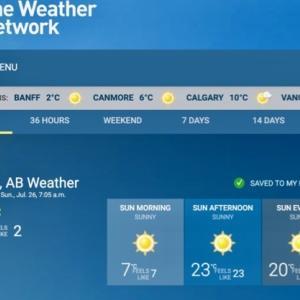 『雲なし快晴の朝気温は+2℃;午後の気温は+26℃;1日の温度差が凄い』『BSHテニス・クラブ(以前入っていたが今年は不参加)のミックス・ダブルス観戦』『快晴&青空の中;皆楽しいでいました』Banff,Canada