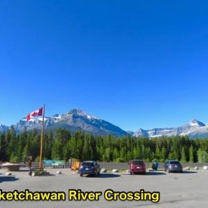 『ウィルコックス・パス(Wilcox Pass)ハイキング①』『氷河が目の前に見えてくる』『雲なし快晴の中の歩きは暑かった』『花々もいっぱい』『青空が美しい』Banff,Canada