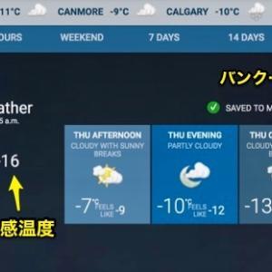 『外気温ー11℃&体感温度ー16℃の中のボウ川散歩』『思ったほど意外に寒くはない』『コロナ禍状態の完全防備』『ボウ川の水は凍りかけて来て綺麗』Banff,Canada