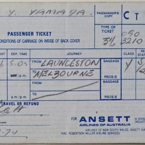 『想い出ぽろぽろ今昔物語1974年「47年前のオーストラリア・タスマニア島編」』『初めて飛行機に乗った場所;ローンセストン(タスマニア島)→メルボルン』『懐かしのANSETT航空』『Australia National Lineの船でメルボルン→デボンポート』『昔の飛行機切符と船の切符』*記事書きはBanff,Canada