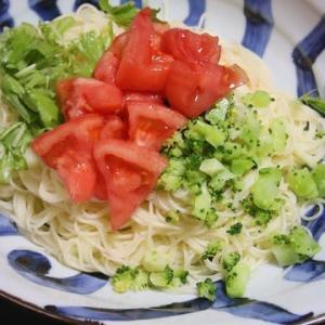 7月15日  トマトと水菜の冷たい パスタ