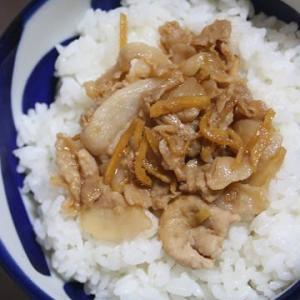 9月6日  豚肉の佃煮ワサビふりかけ丼
