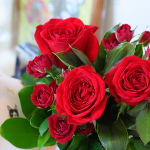 真っ赤なバラにしました・・・