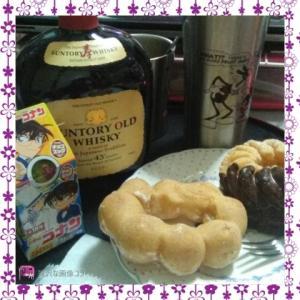 おやつにドーナツとアイリッシュコーヒー飲んでいます☆
