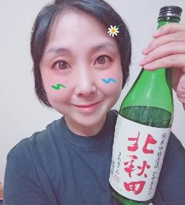 本日の晩酌写メ☆純米吟醸原酒ひやおろし北秋田飲んでいます☆