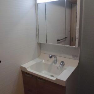 作り付け棚や床下収納のある洗面