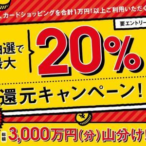 ポケットカードで20%還元キャンペーンやってるって。
