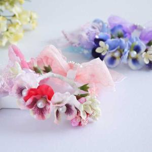 春らしいパンジー&引き揃え糸の花冠