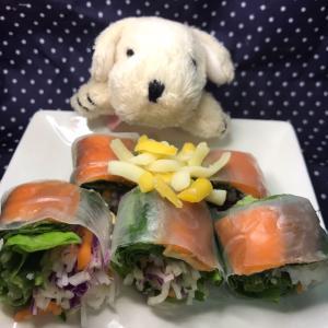 【私流わんちゃんレシピ】鮭の生春巻き