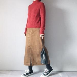 ■(着画)無印赤セーター,グローバルワークコーデュロイスカートなど*今日の気になるものPICK UP■