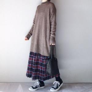 ■(着画)無印良品チュニックニット,rokc mountスカートなど*今日の気になるものPICK UP■