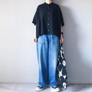 ■(着画)mizuiro-indスタンドカラーブラウス,ordinary fits JAMES PANTSなど*今日の気になるものPICK UP