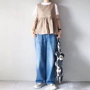 ■(着画)cuore storeリネンベスト,mizuiro-indフレアTシャツ,ordinary fits JAMES PANTSなど*今日の気になるものPICK UP■