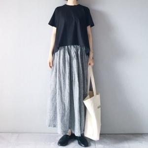 ■(着画)mizuiro-ind 半袖Tシャツ,SOILリネンスカート,queシューズなど*今日の気になるものPICK UP■