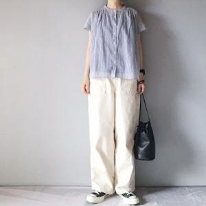 ■(着画)無印良品ストライプ半袖シャツ,ordinaryfits JAMES PANTSホワイトなど*今日の気になるものPICK UP■