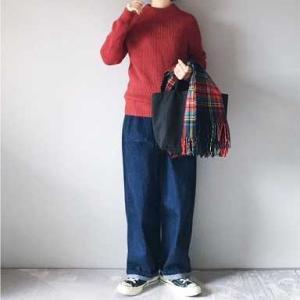 ■(着画)無印良品ニット,ordinary fits JAMES PANTS,recaチェックストールなど*楽天スパセ半額以下商品などいろいろ■