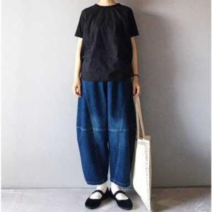 ■(着画)sanpo織りドットTシャツ&ゆるっとデニムお披露目*今日の気になるものPICK UP■