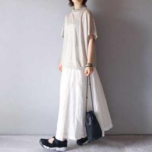■(着画)LinenyaリネンニットTシャツ,SOILリネンロングスカートなど*今日の気になるものPICK UP■