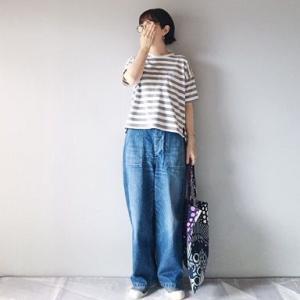■(着画)無印良品ボーダー半袖Tシャツ,ordinary fits JAMESパンツなど*今日の気になるものPICK UP■