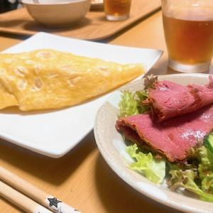 炊飯器オムライスと、豚キムチ。