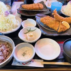 大きなエビフライと、鶏唐揚げと、夫好物のシチュー。