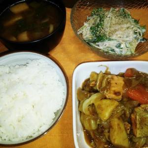食事日記  鮭とさつまいものカレー炒め。