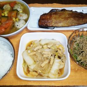 食事日記  しらたきと白菜炒め煮。