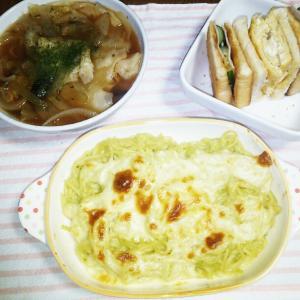 食事日記  バジルパスタチーズ焼き。