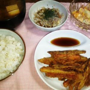 食事日記   牛蒡と人参の天ぷら。