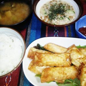 食事日記  ソーセージとチーズの揚げ餃子。