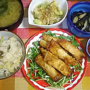 食事日記 生姜炊き込みご飯。